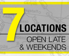7 Locations - open late & on the weekends